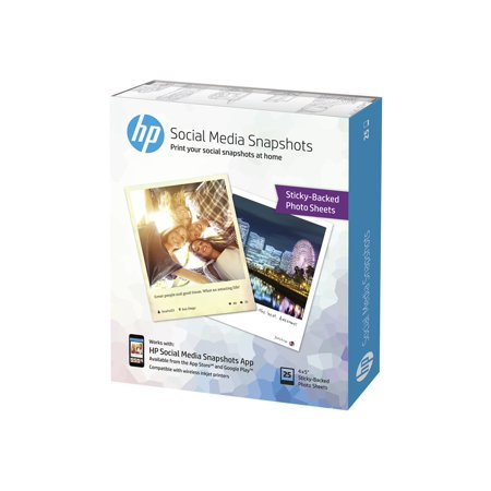 HP Social Media Snapshots - Soft gloss removable self-adhesive photo paper - 11 mil 4 in x 5 in - 287 g/m2 - 25 sheet(s) - for Envy 12X, 5530; Officejet 5740, 6100, 8040; Officejet Enterprise Color X555 (Hp Officejet Photo Paper)