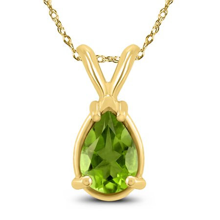 14K Yellow Gold 8x6MM Pear Peridot Pendant