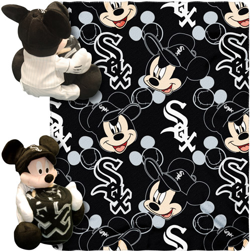 "Disney MLB Pitch Crazy Hugger Pillow and 40"" x 50"" Throw Set, Chicago White Sox"