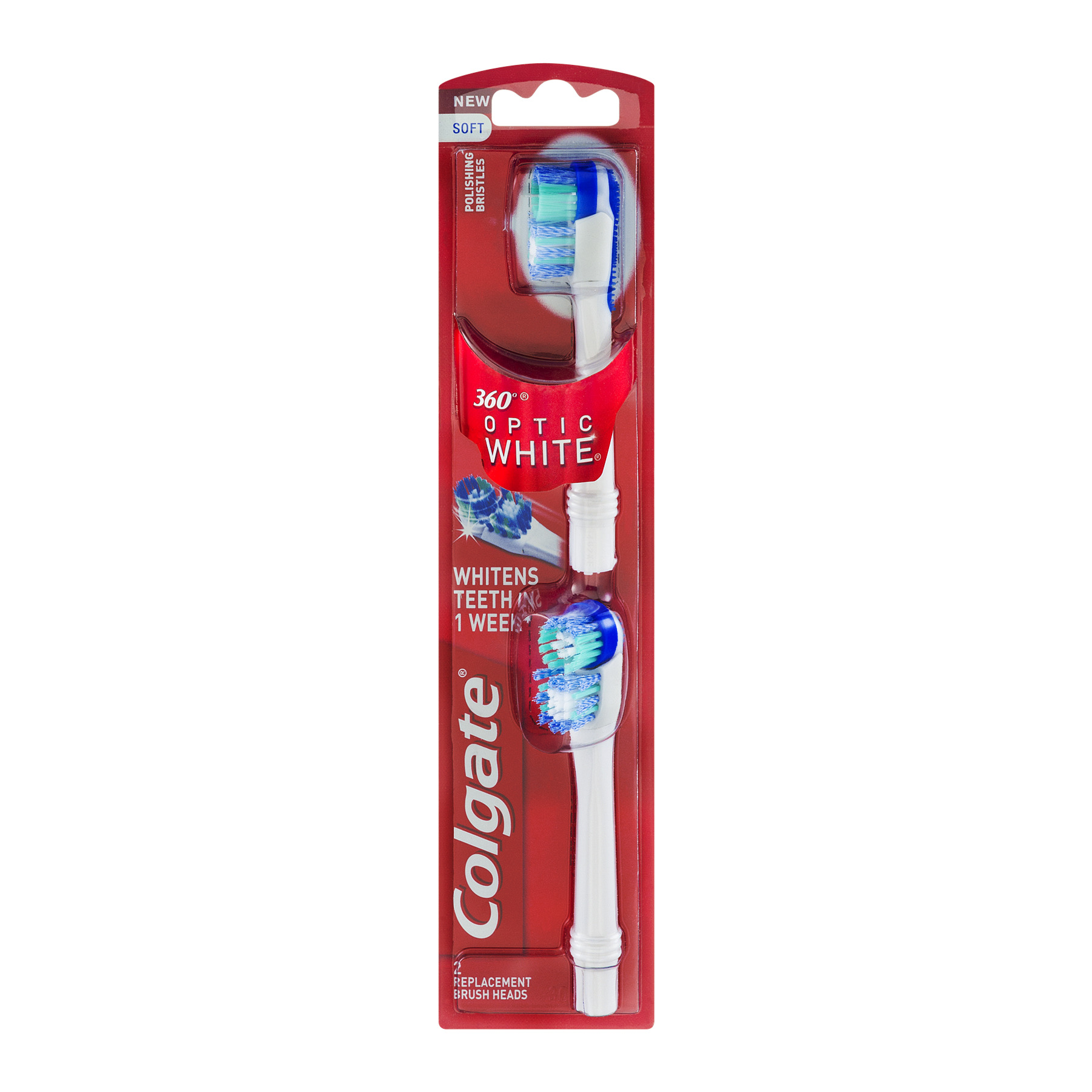 Colgate 360 Optic White Battery Toothbrush Replacement Head - 2 Count