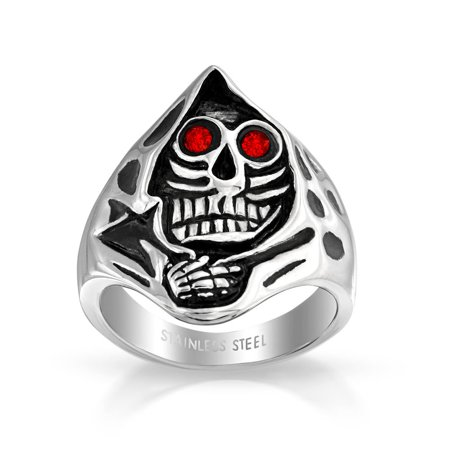 Silver Tiger Eye Man Ring - Mens Red CZ Eyes Grim Reaper Skelton Skull Head Signet Ring For Men Oxidized Silver Tone Stainless Steel