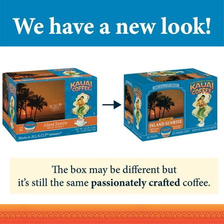 Kauai Coffee Island Sunrise Mild Roast, 12 Count K-Cup Compatible Pods