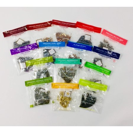 30-Count Tea Sampler of Two Leaves and a Bud Teas + 25 Natureâ??s Kick Honeystix (5 Flavors) + 6 Dryden and Palmer Rock Candy Swizzle Sticks