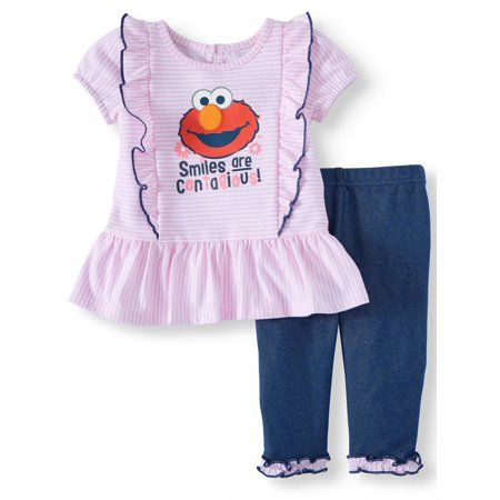 Elmo Short Sleeve Ruffle Tunic Top & Leggings, 2pc Outfit Set (Baby -