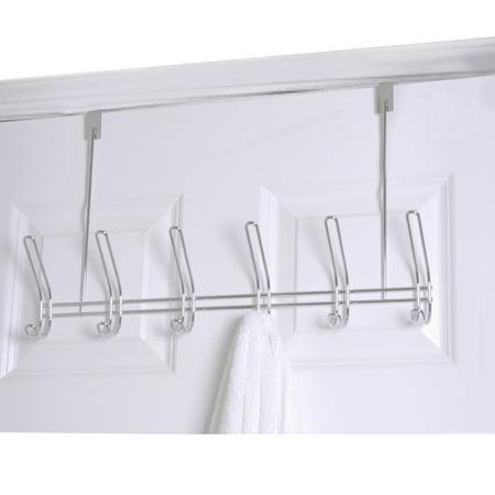 Home Basics Chrome 6 Hook Over The Door Towel Coat Rack ()