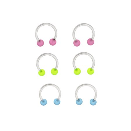 Body Magic 316L Steel and Surgical Grade Material 3-Piece Glow-in-the-Dark Circular Barbell Set 316l Surgical Steel Material