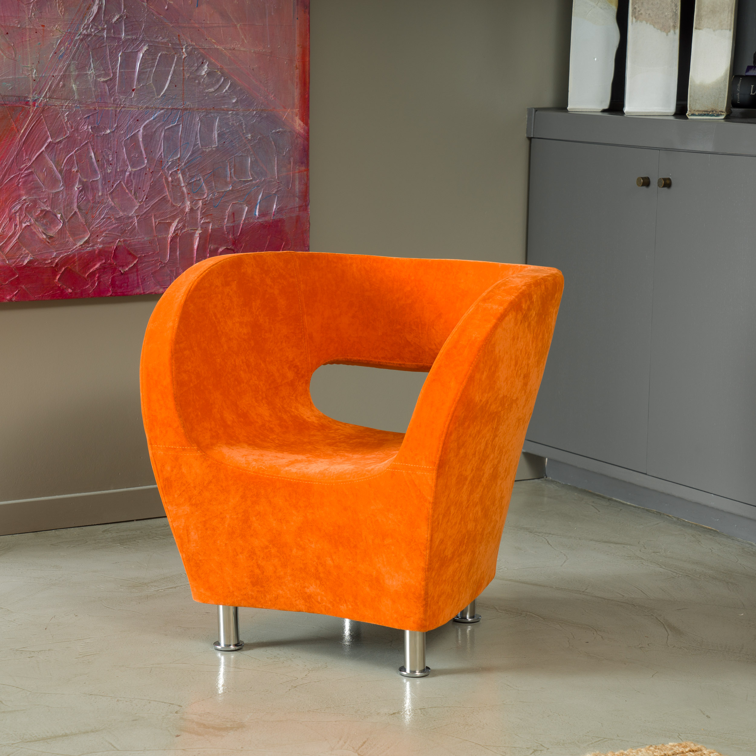 Noble House Jetson Modern Orange Microfiber Accent Chair