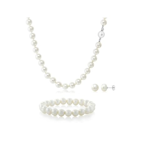 White Cultured Freshwater Pearl Necklace Elastic Bracelet and Earrings Set - image 1 of 1