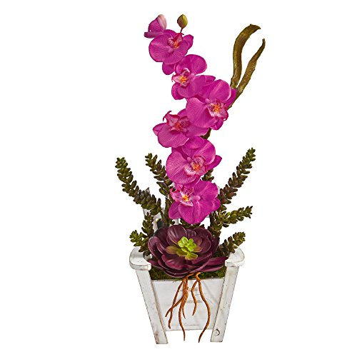 Nearly Natural artificial indoor Phalaenopsis Orchid & Succulent Artificial Arrangement in Chair Planter Dark Pink