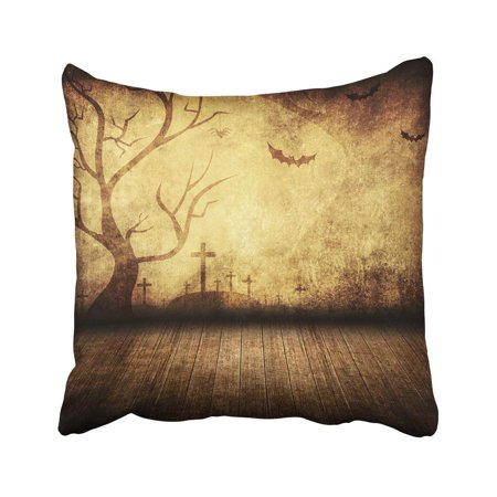 BPBOP Brown Party Halloween Retro Room Yellow Scary Vintage Stage Tree Dark Bat Label Pillowcase 18x18 - Scary Halloween Labels For Bottles