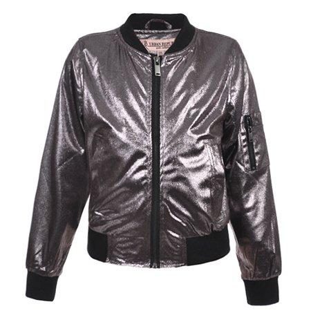 Urban Republic Little Girls Silver Metalic Faux Snakeskin Flight Jacket - Silver Jacket
