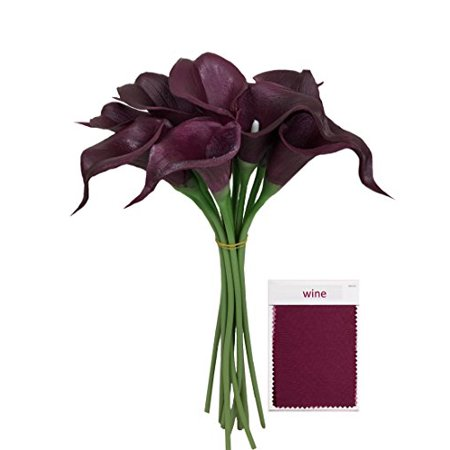 Lily Keepsake - 10pc set Real Touch calla lily-Premium Fragrance keepsake artificial flower perfect for cut to make boutonniere corsage bouquets (Wine(Burgundy))