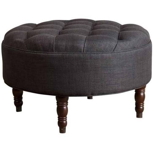 Devon & Claire Providence Round Fabric Tufted Ottoman, Multiple Colors