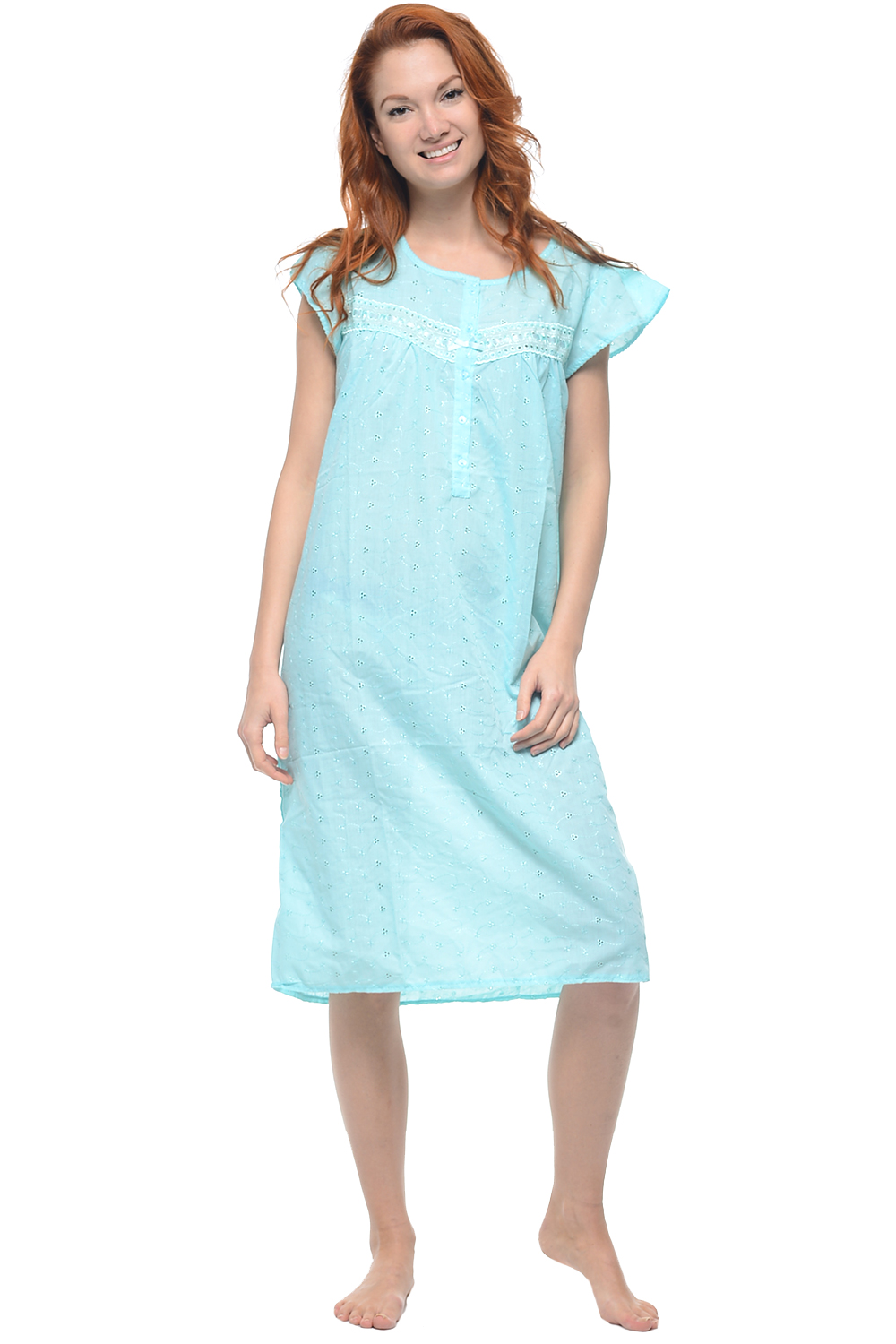 Casual Nights Women's Cap Sleeve Eyelet Embroidered Nightgown