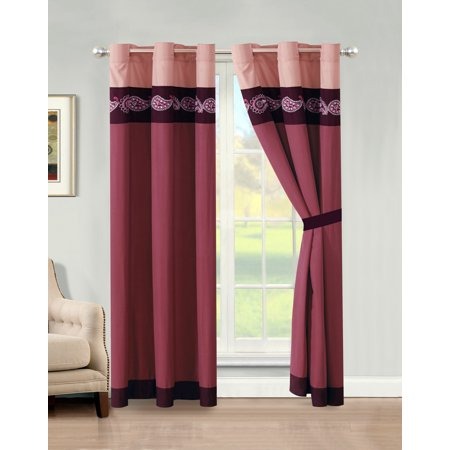 4-Pc Ellery Paisley Floral Embroidery Stripe Curtain Set Purple Rose Pink Drape Sheer Liner