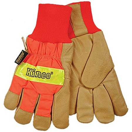KINCO 1938KW-XXL Men's High Visibility Lined Pigskin Safety Cuff Gloves, Heat Keep Thermal Lining, Knit Wrist, XXL, Orange