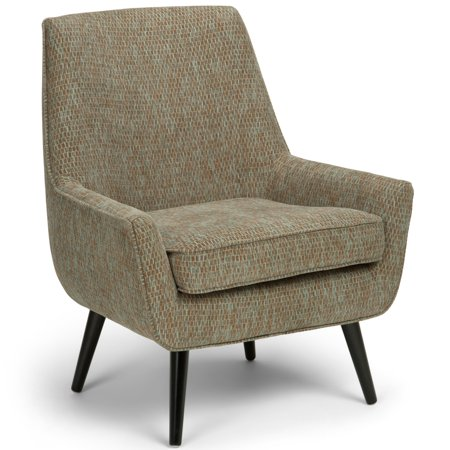 Brooklyn + Max Aria 30 inch Wide Mid Century Modern Accent Chair in Blue, Brown Patterned