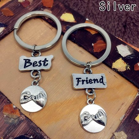 KABOER 2pcs/Set Best Friend Forever Keychain Metal Little Finger Promise Letter carved Keyring Friendship Jewelry