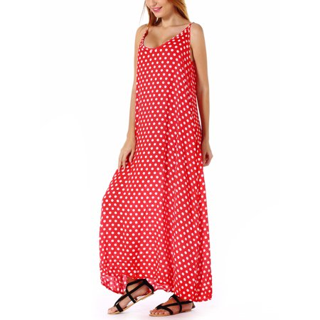 LELINTA Summer Dresses for Women Fashion Casual Beach Dress V Neck Strap Wave Point Swing Hawaiian Holiday Dress with Two Side Pockets, Plus Size up to 5XL