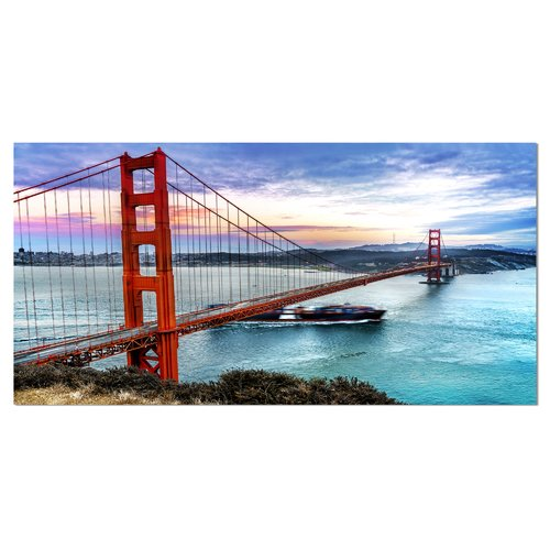 Design Art Golden Gate in San Francisco Sea Bridge Photographic Print on Wrapped Canvas