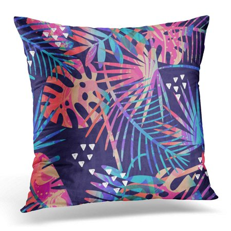 ECCOT Tropic Tropical Pattern with Plants and Palm Leaves Jungle Leaf Pillowcase Pillow Cover Cushion Case 18x18 inch](Jungle Leaf)
