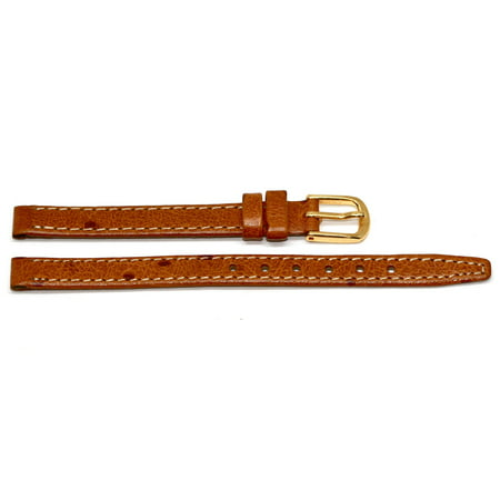8MM BROWN STITCHED OSTRICH GRAIN GENUINE LEATHER WATCH BAND STRAP