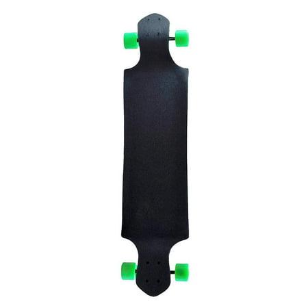 """KOBE 41"""" Longboard - 9 Ply Canadian Maple - Skateboard - Drop Down - Black with Green Wheels - image 1 de 6"""