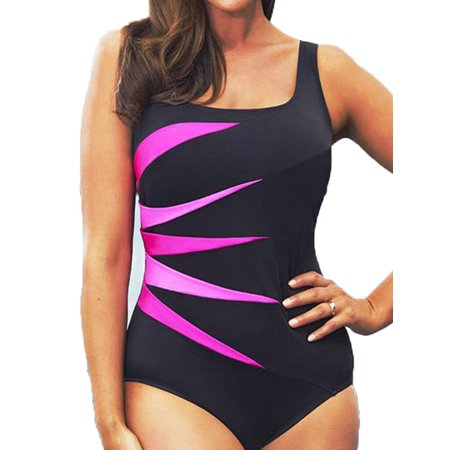 Plus Size Womens Padded Push-up Swimsuit Monokini Bikini Swimwear Beach Tankini