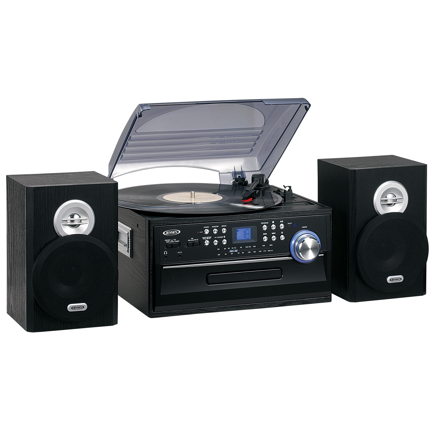 Jensen JTA-475 3-Speed Turntable with CD, Cassette and AM/FM Stereo Radio