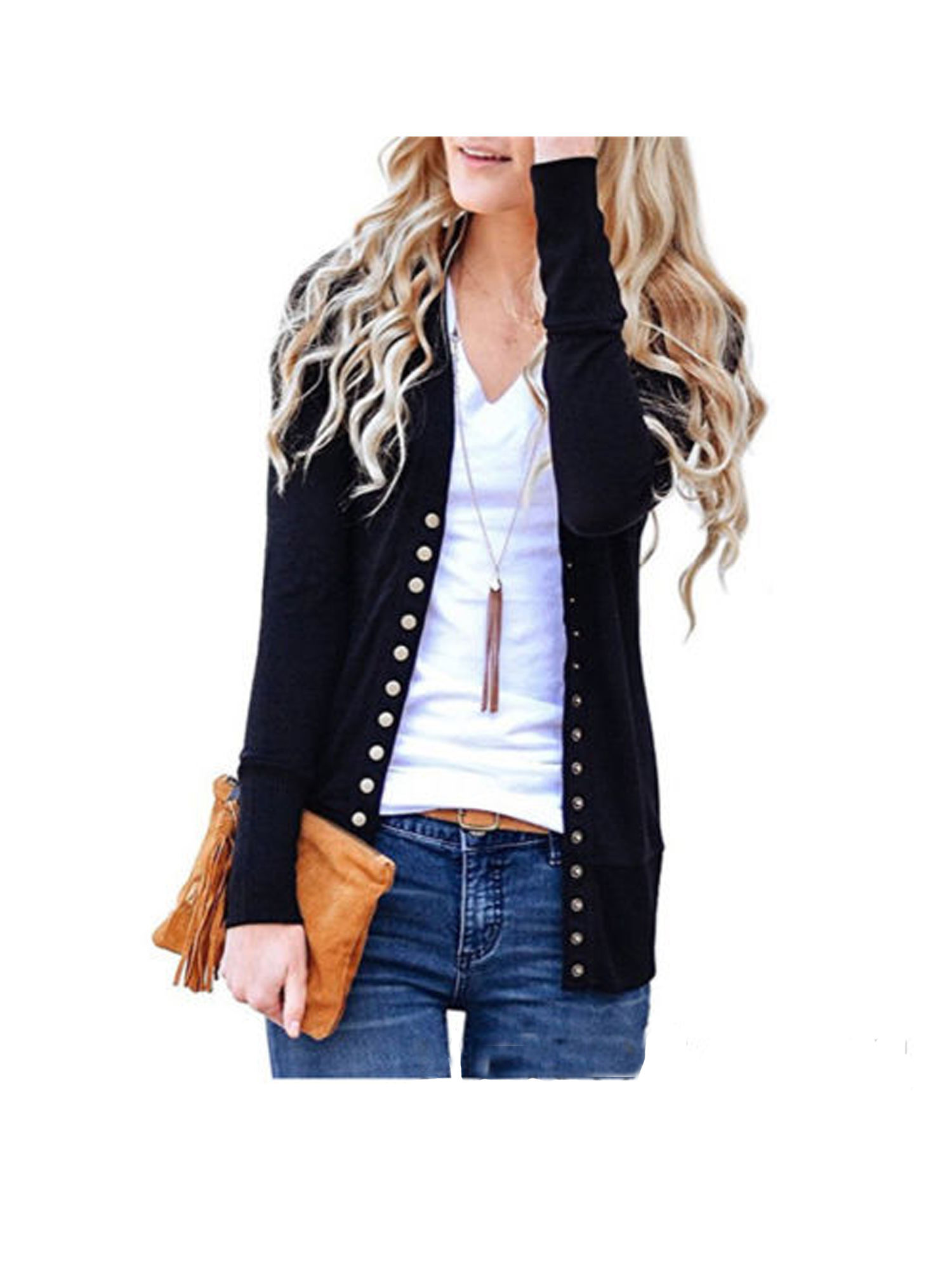 Lady Women Low Cut V-Neck Long Sleeve Knit Snap Button Down Cardigan Sweater Top