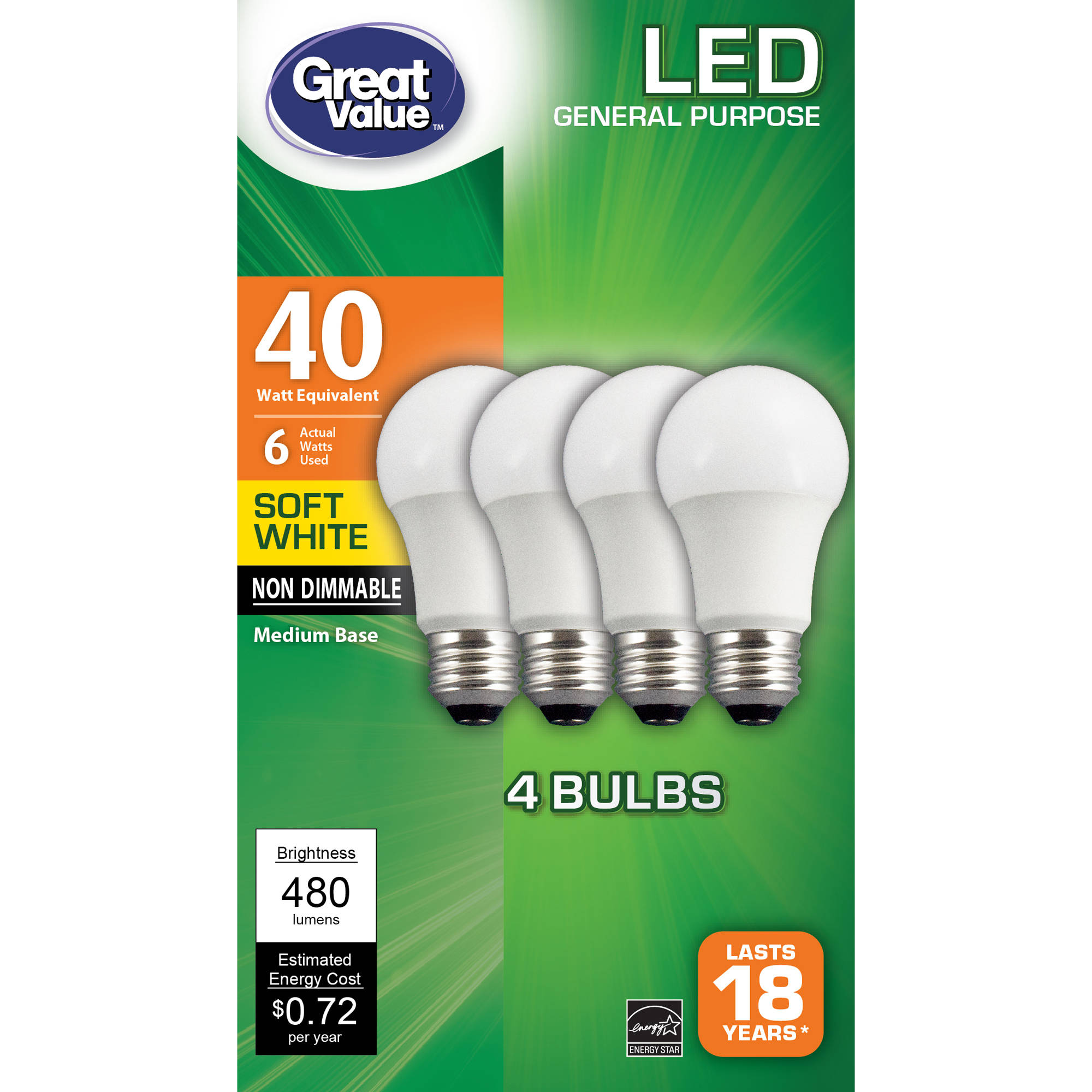 Great Value LED A19 (E26) Light Bulbs 6W (40W Equivalent), Soft White, 4-Pack