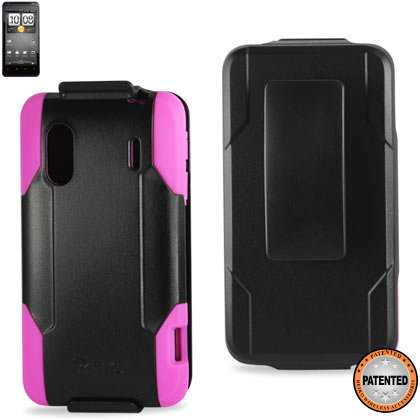 Silicone Case+Protector Cover Htc Evo Design 4G 6285 Black Hot Pink Holster With Clip