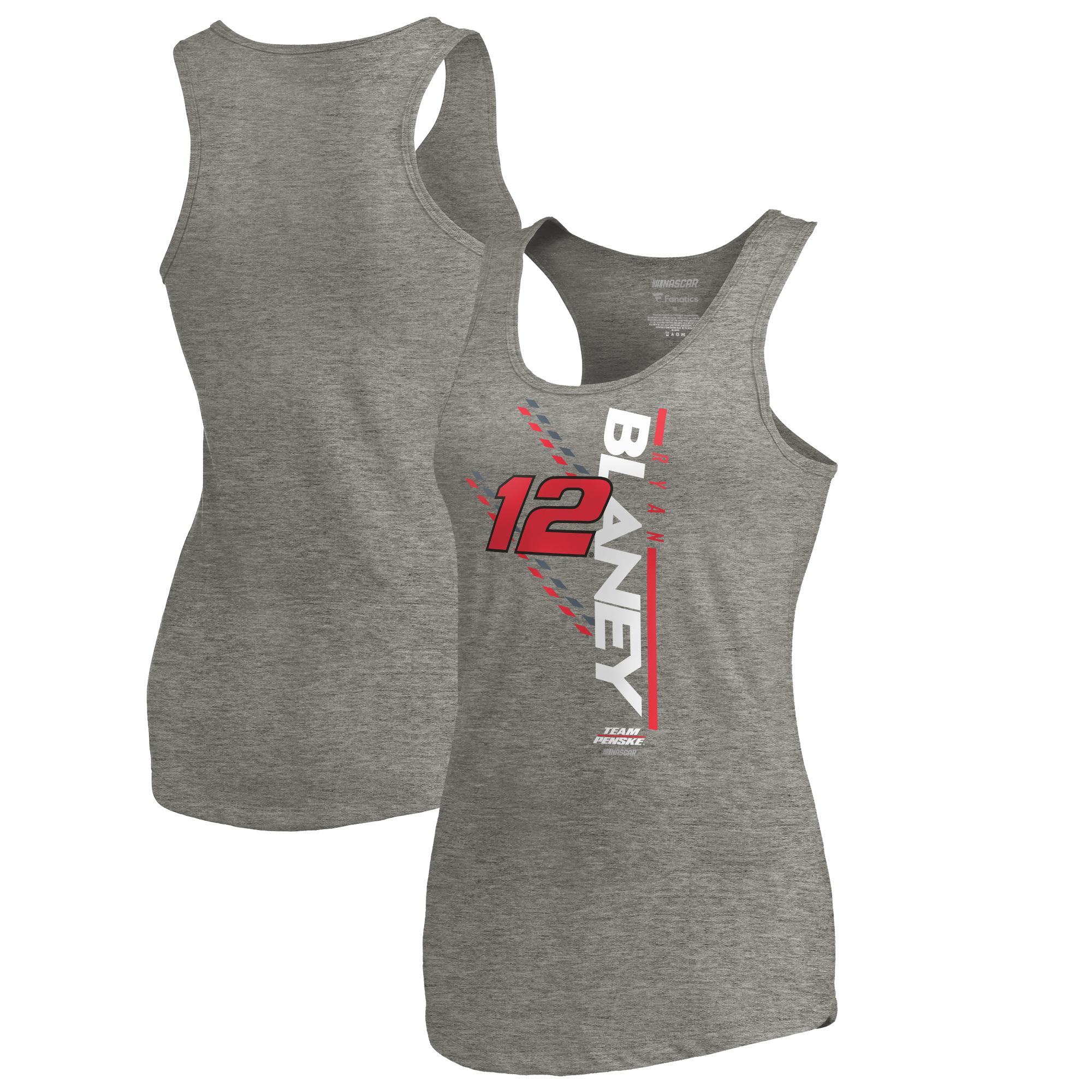 Ryan Blaney Fanatics Branded Women's NASCAR Track Bar Tri-Blend Tank Top - Heathered Gray