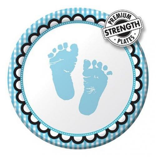 Creative Converting Sweet Baby Feet Blue Round Dessert Plates, 8 Count