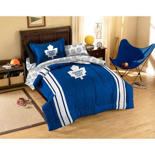 NHL Applique Bedding Comforter Set with Sheets, Maple Leafs