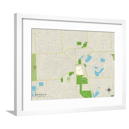 Political Map of Northville, MI Framed Print Wall Art ()
