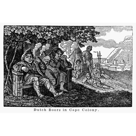 South Africa Boers Ndutch Boers In Cape Town Colony Wood Engraving 19Th Century Rolled Canvas Art     24 X 36