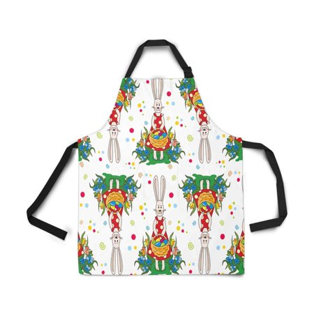ASHLEIGH Easter Egg Rabbit Bunny Apron for Women Men Girls Chef with Pockets Kitchen Apron for Cooking Baking Gardening (Egg Pocket)