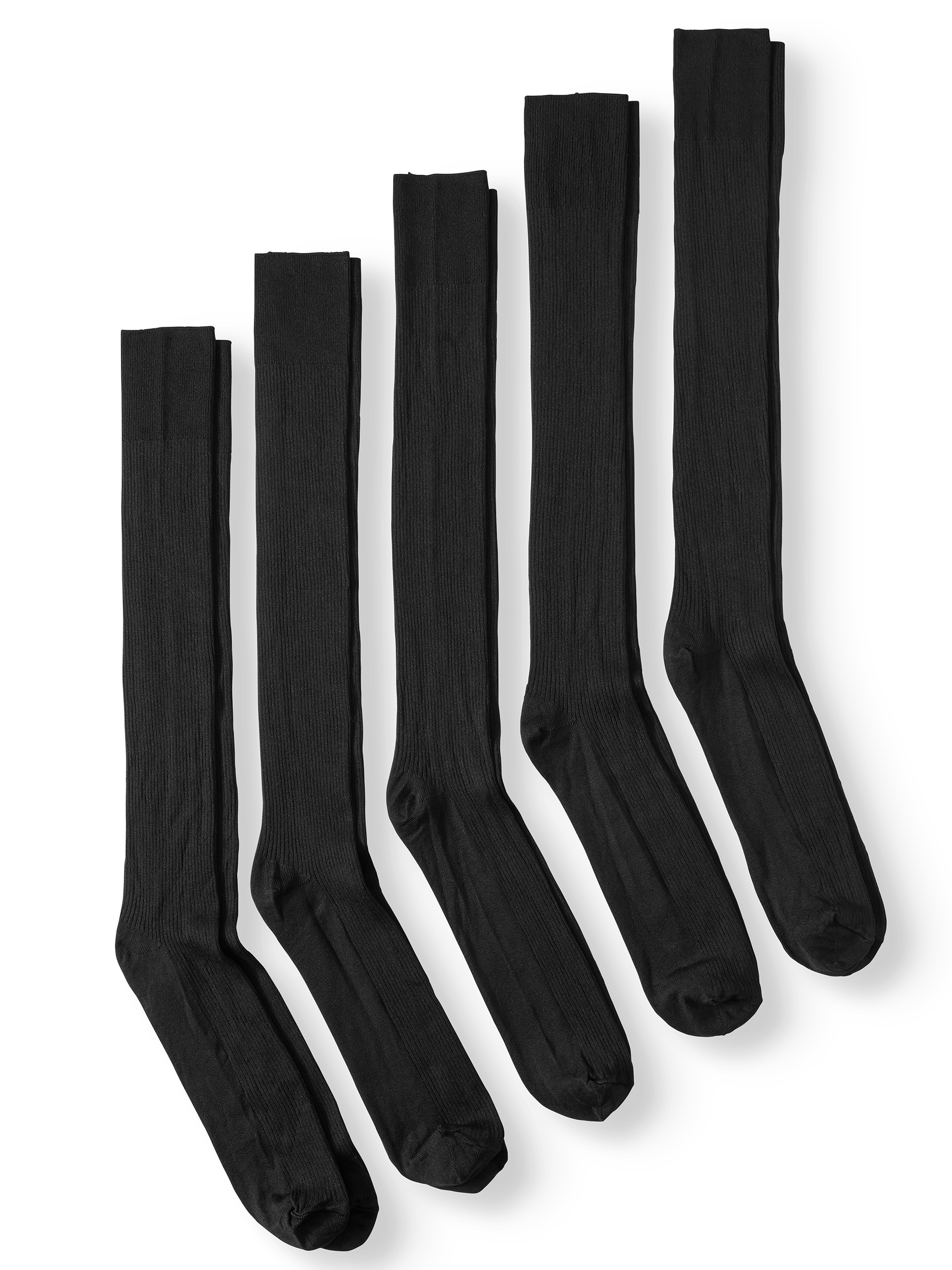 George Big & Tall Nylon Triple Rib Crew Socks, 5-Pack