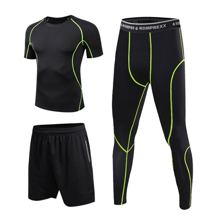 Men Compression Sports Set 3 Pack with Compression T-shirt Loose Fitting Shorts Tight Leggings Pants For Running Cycling Basketball Yoga Hiking Gym Work