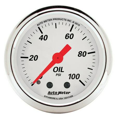 AutoMeter 1321 Arctic White Mechanical Oil Pressure Gauge Autometer Autogage Mechanical Oil