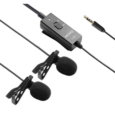 Movo LV20 Dual Capsule Battery-Powered Lavalier Clip-on Omnidirectional Condenser Interview Microphone for Cameras, Camcorders and Recorders (TRS 3.5mm -
