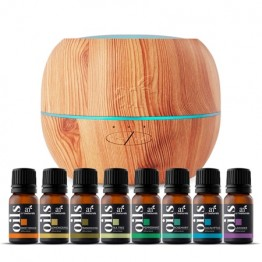Ultrasonic Oil Diffuser Set + 16 Pure Essential Oils (10mL) Natural Aromatherapy