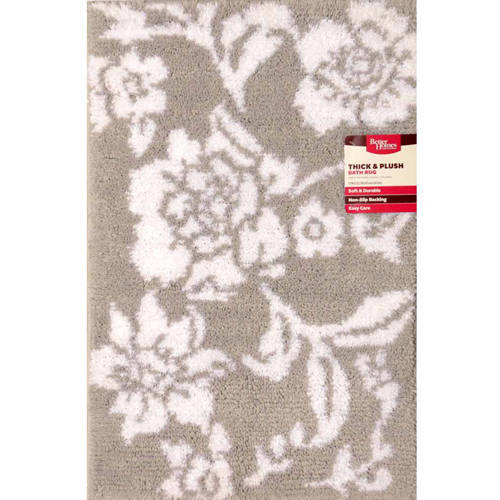 Better Homes and Gardens Thick and Plush Silver/White Floral Bath Rug