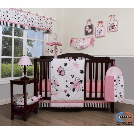 Geenny Boutique Baby 13 Piece Nursery Crib Bedding Set New Pink Erfly