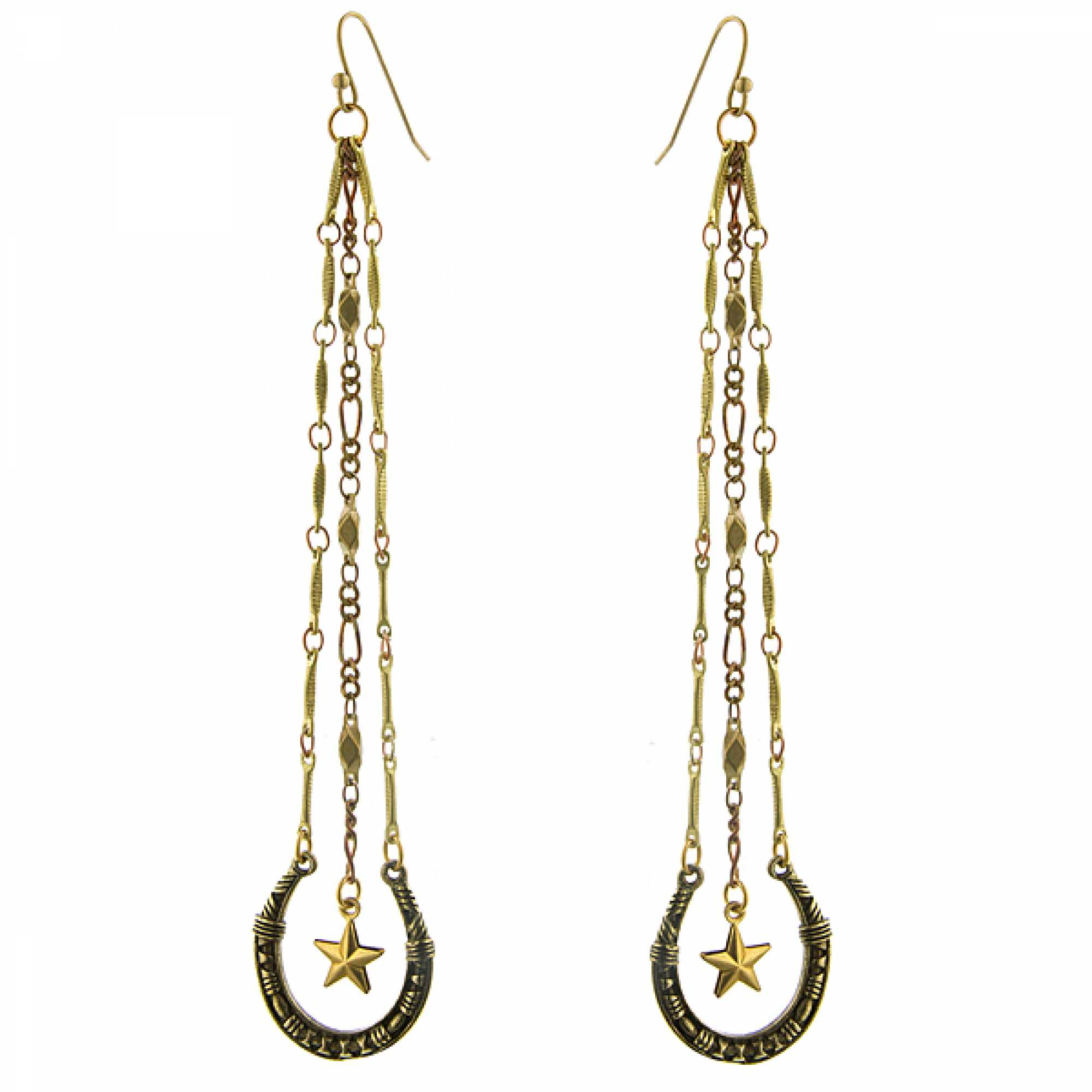 T.R.U. Lucky Horseshoe and Star Charm Linear Earrings