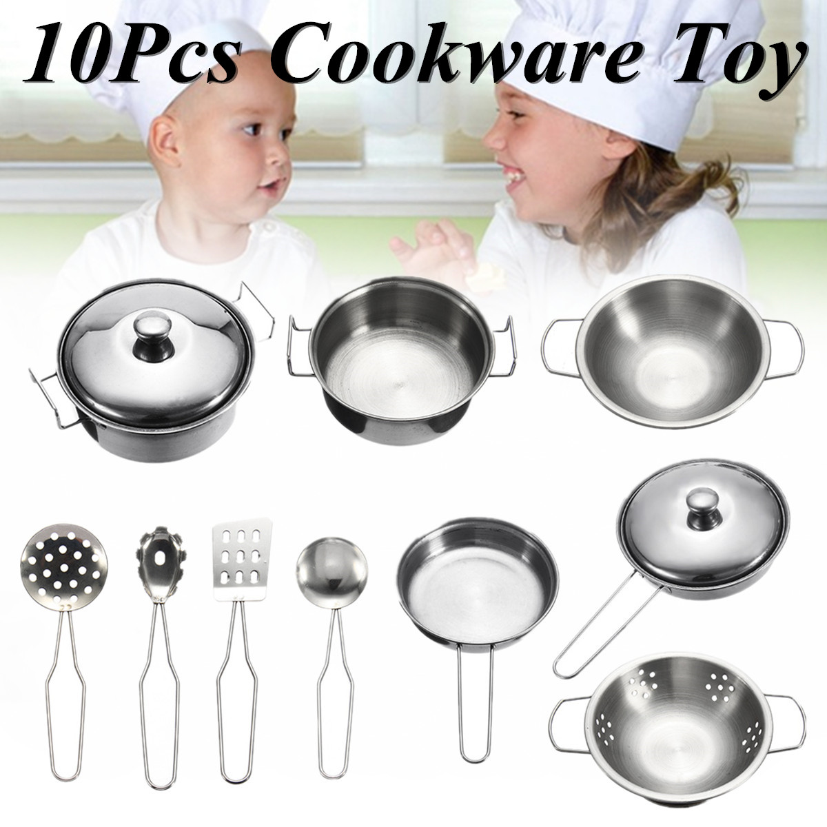 10pcs kids Cookware Playset Pretend & Play Set Toys Stainless Steel For Children Play House Simulation Kitchen Utensils Earlier Educational - Pots&Pans,Soup Spoon,Colander,Spatula