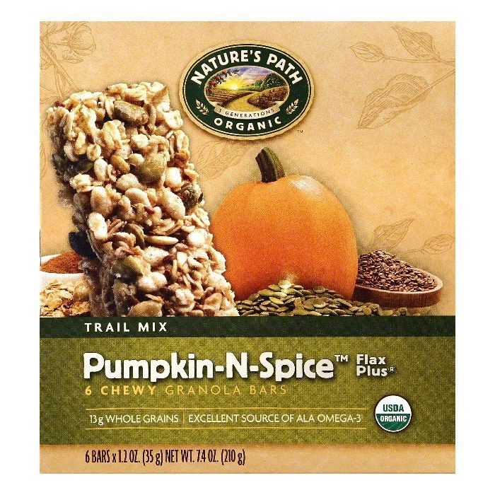 Nature's Path: Organic Pumpkin-N-Spice Trail Mix & Flax Plus 1.2 Oz Granola Bars, 6 Ct