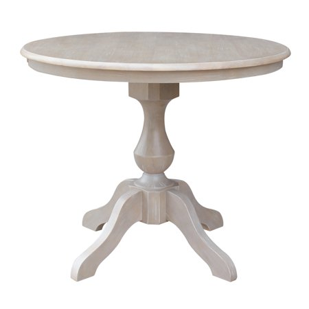 "36"" x 36"" Solid Wood Round Pedestal Dining Table in Washed Gray Taupe"