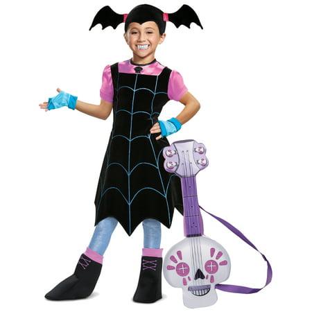 Girls Disney Vampirina Web Dress Fangs And Spookylele Deluxe Costume Bundle for $<!---->